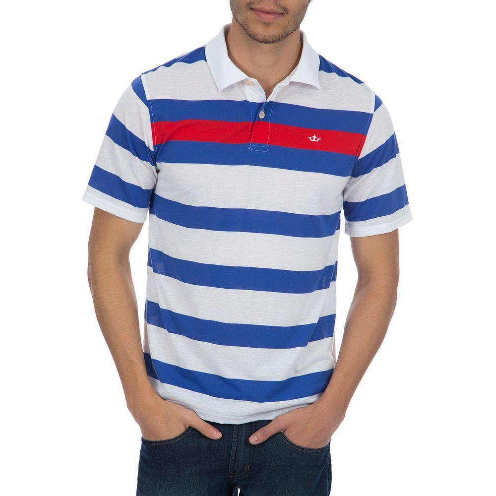18c985ed3f Camisa Polo Masculina Azul Listrada - Camisaria Colombo