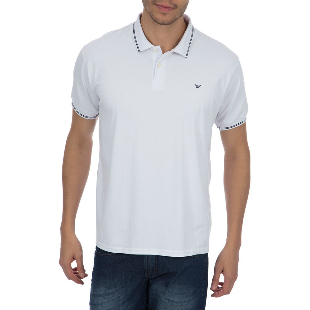 50ad902b6a Camisa Polo Masculina Branca com Detalhe - Camisaria Colombo