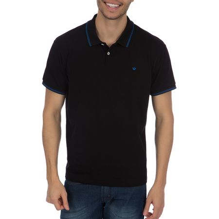 Camisa Polo Masculina Preta Detalhada
