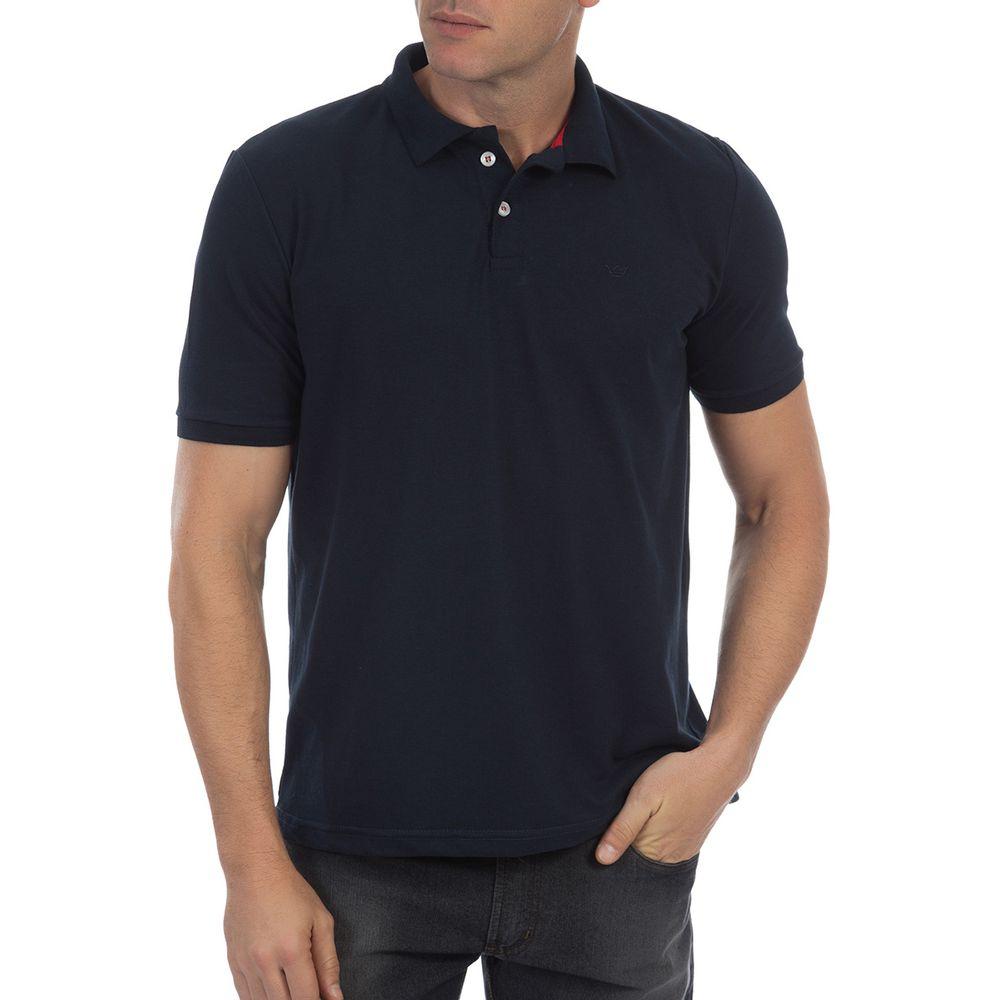 bc5d94e625173 Camisa Polo Masculina Azul Marinho Lisa - Camisaria Colombo