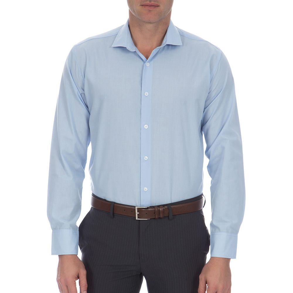 c0a9adaf0 Camisa Social Masculina Azul Lisa