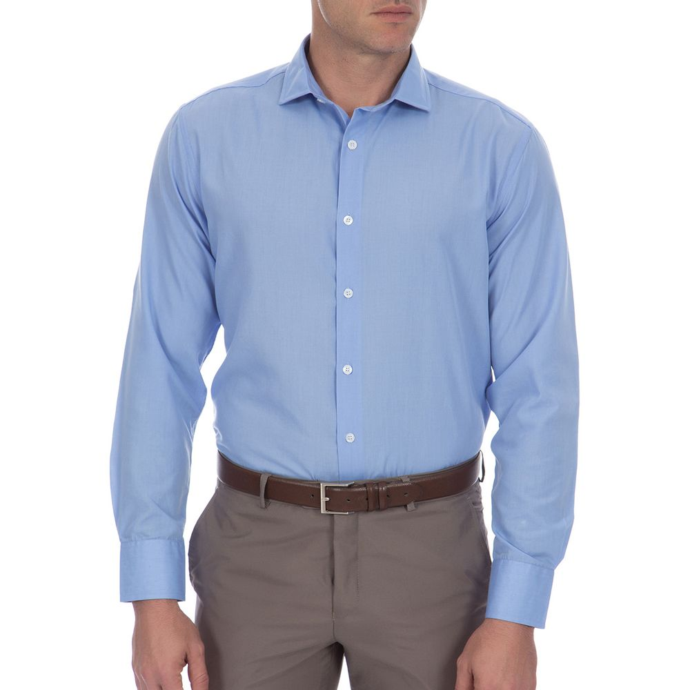 27b2127ab PRODUTO ADICIONADO A SACOLA. Camisa Social Masculina Azul Lisa ...
