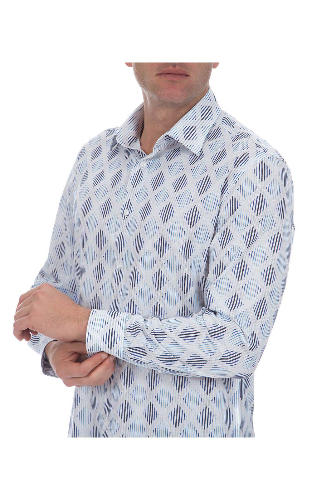 Foto 3 - Camisa Social Masculina Azul Lisa