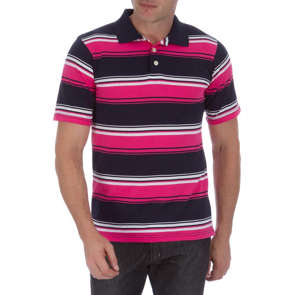 Camisa Polo Masculina Rosa Listrada - Camisaria Colombo b16eecaa9bf2b