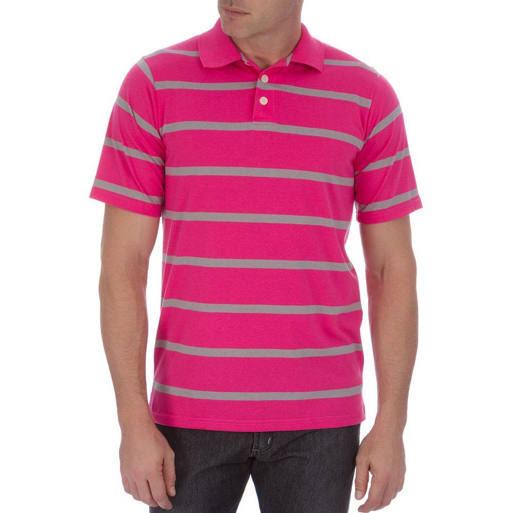 PRODUTO ADICIONADO A SACOLA. Camisa Polo Masculina Rosa Listrada cf48ea14f0347