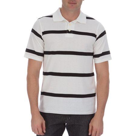 Camisa Polo Masculina Branca Listrada