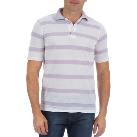 Camisa Polo Masculina Lilás Listrada