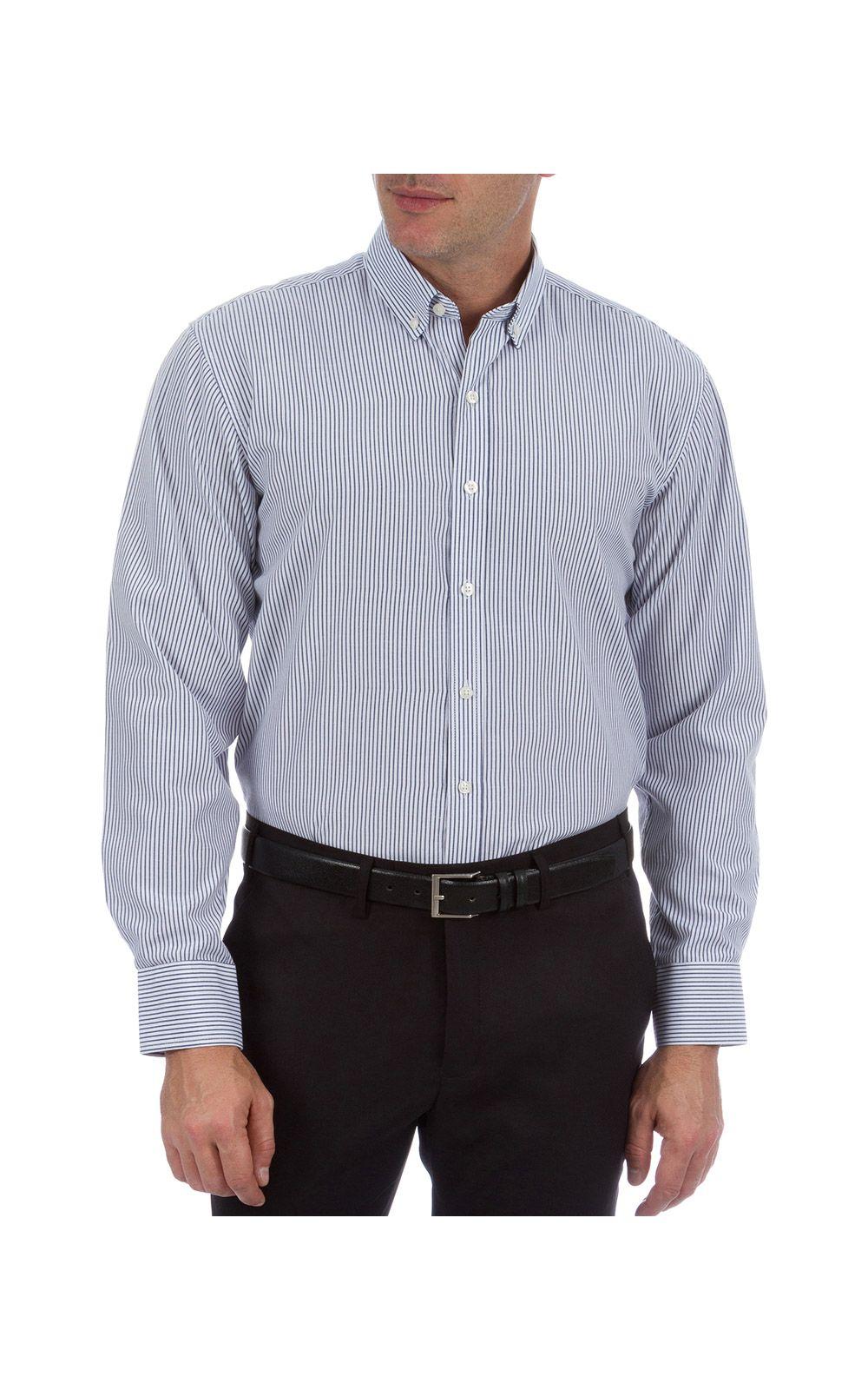 Foto 5 - Camisa Social Masculina Azul Listrada