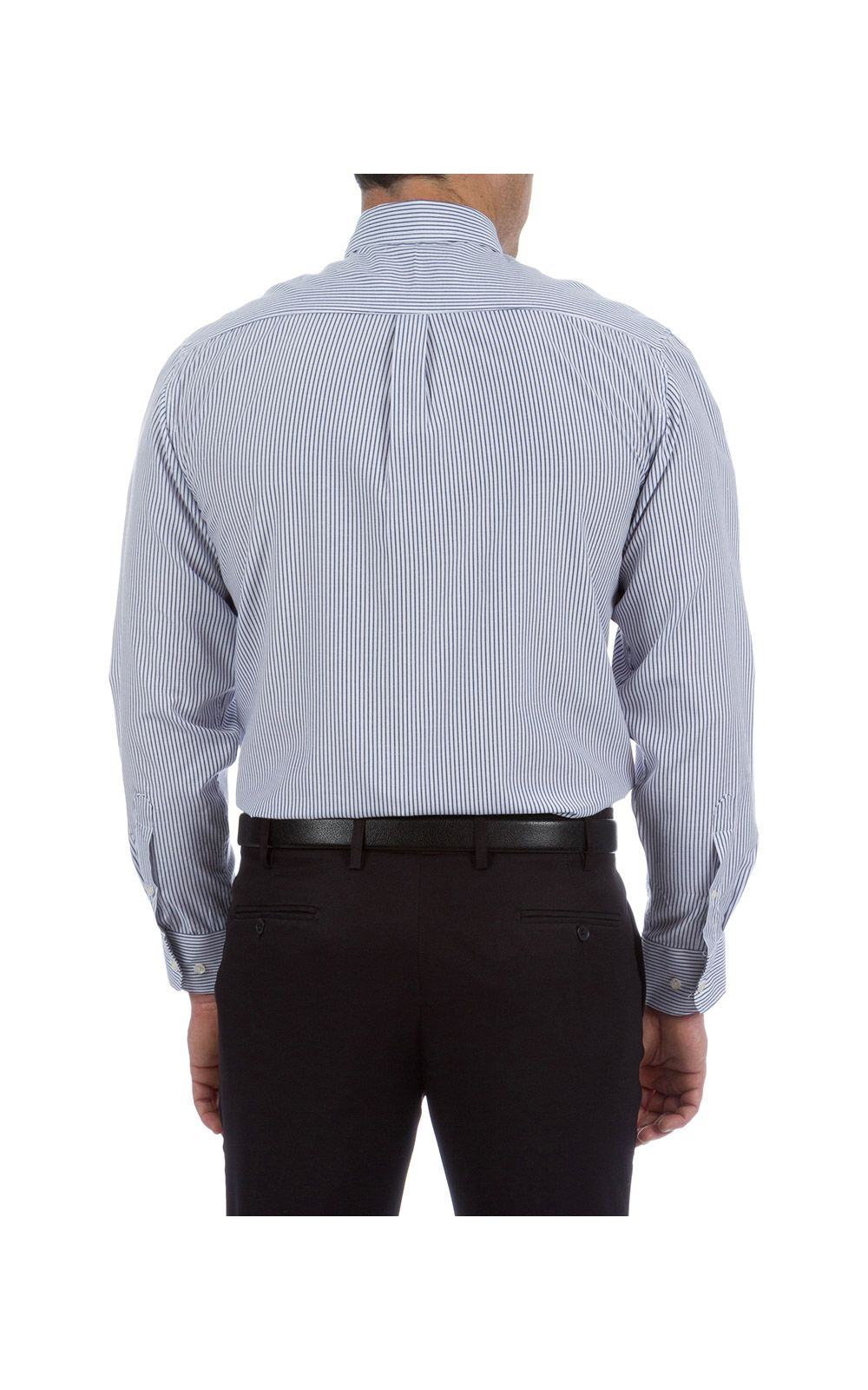 Foto 6 - Camisa Social Masculina Azul Listrada