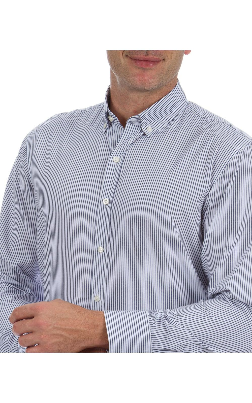 Foto 7 - Camisa Social Masculina Azul Listrada