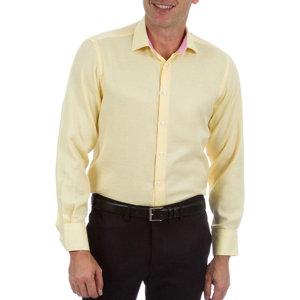 PRODUTO ADICIONADO A SACOLA. Camisa Social Masculina Amarela com Detalhe abdee5b60a450