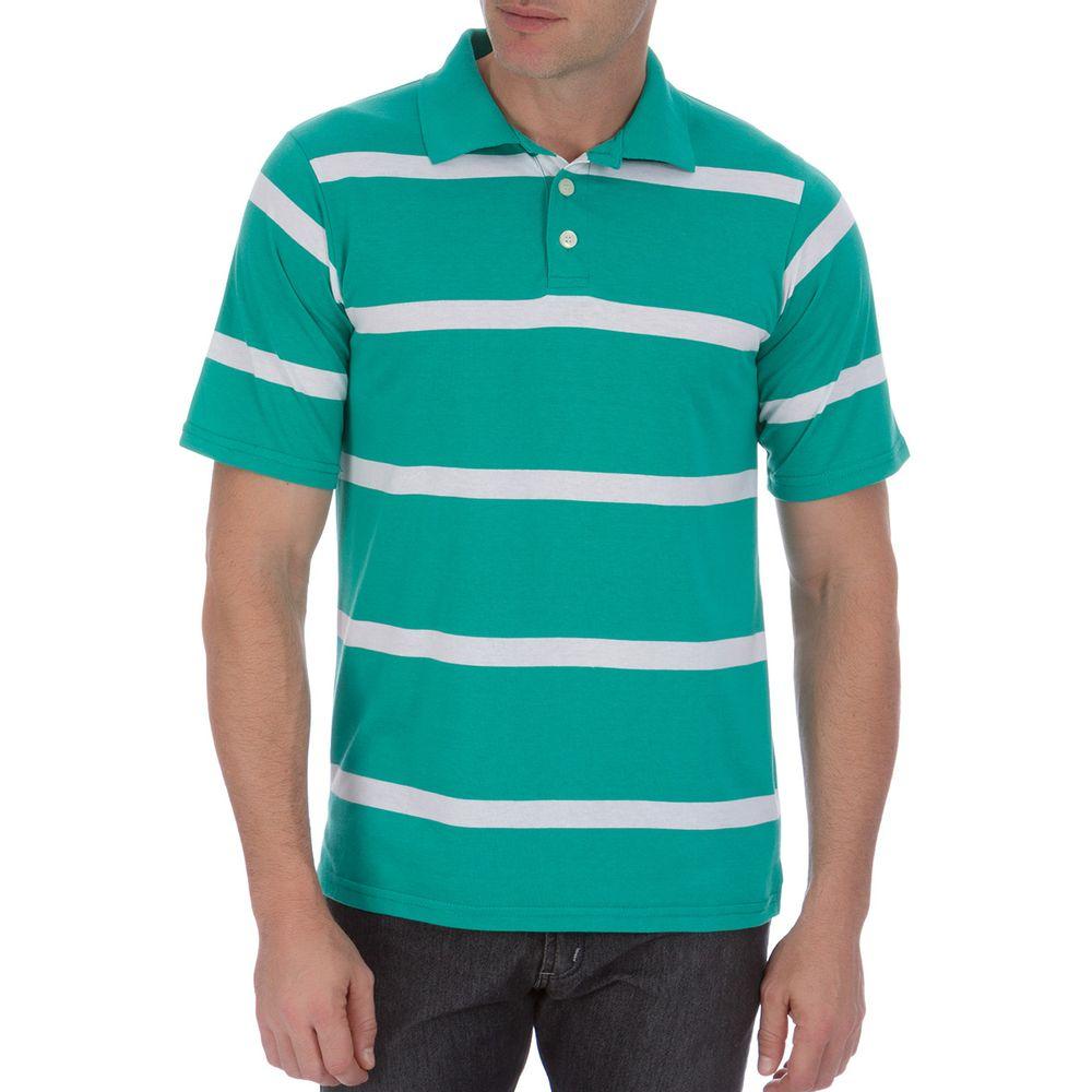 03b08f1aa6e78 Camisa Polo Masculina Verde Listrada - Camisaria Colombo