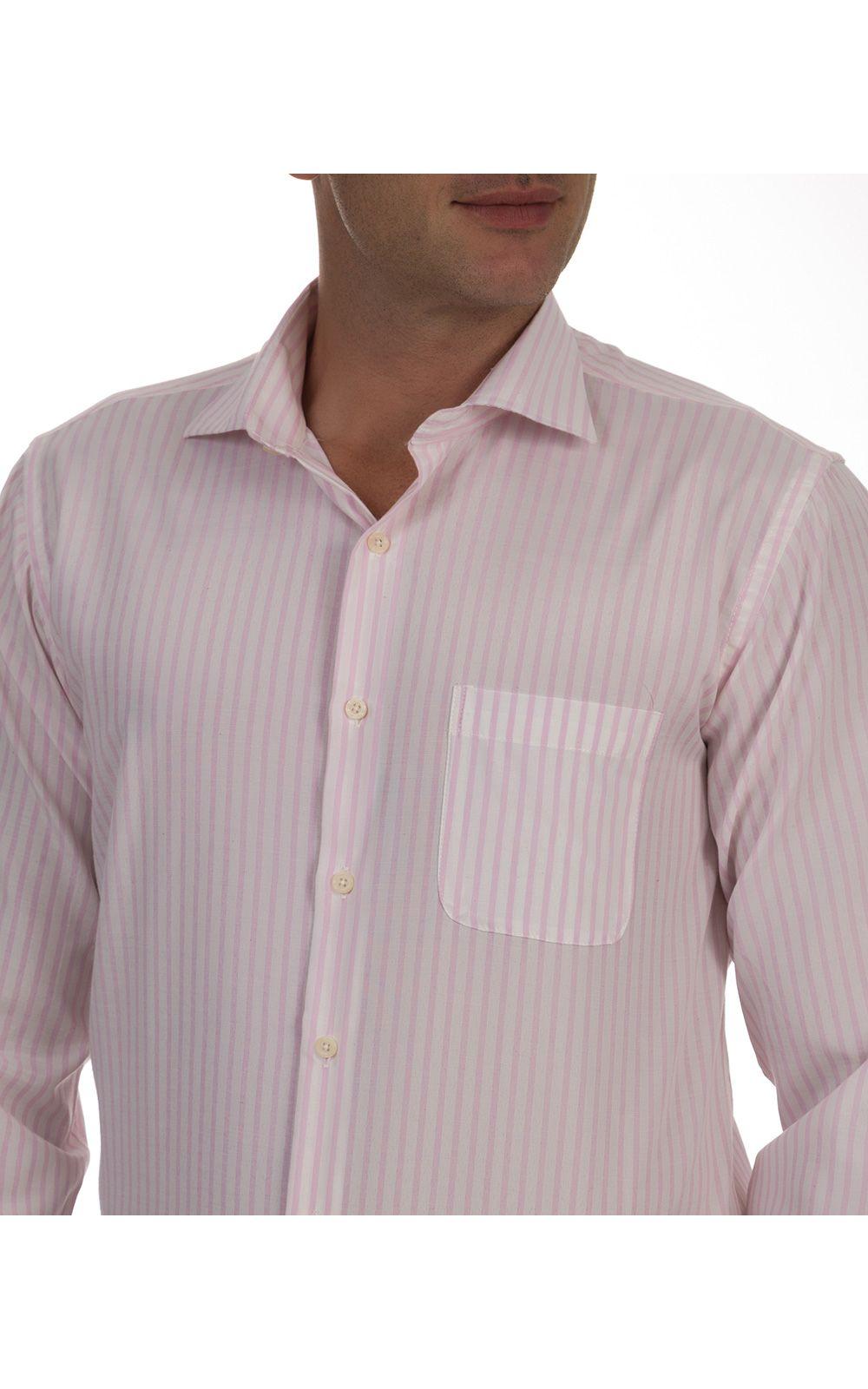 Foto 3 - Camisa Social Masculina Rosa Listrada