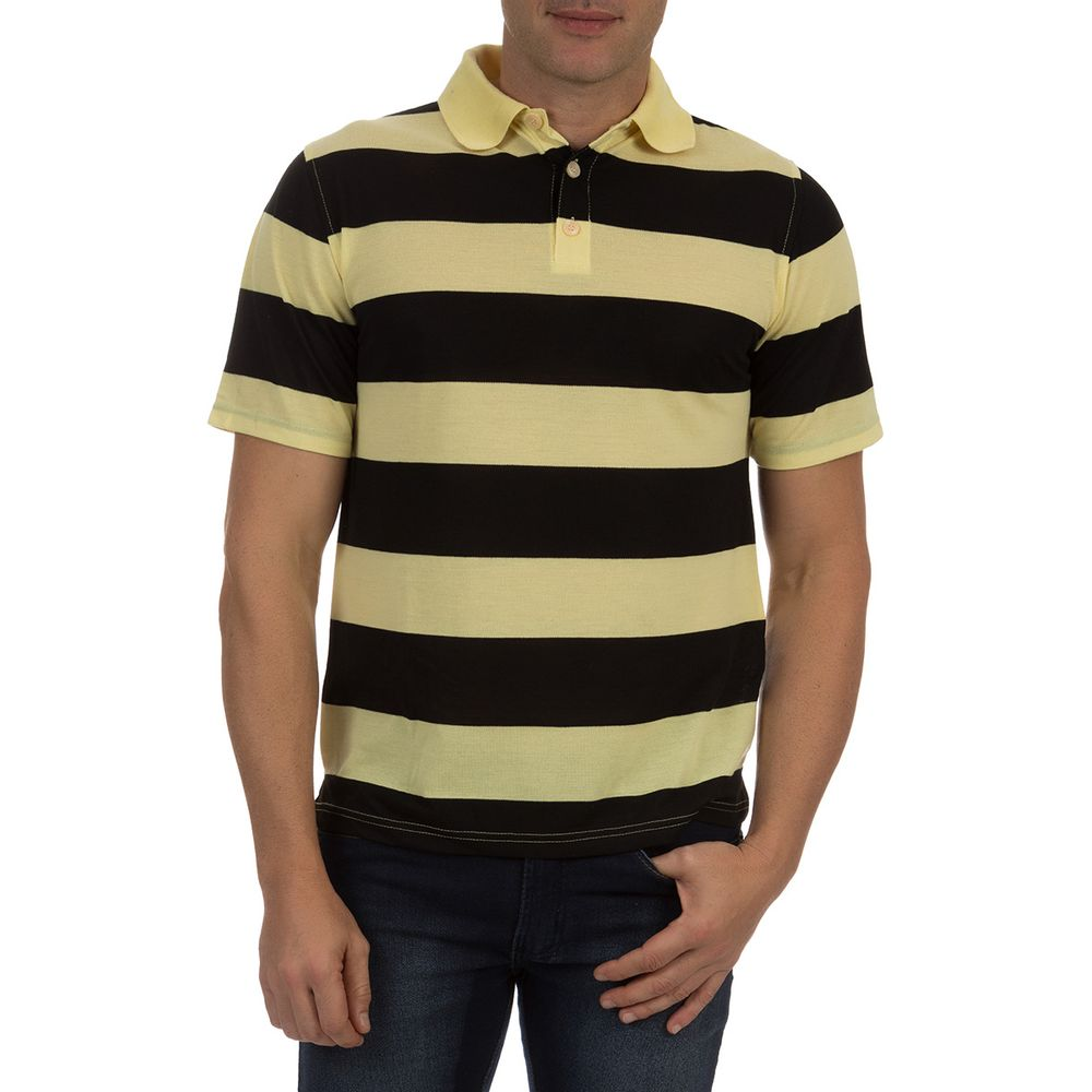 Camisa Polo Masculina Amarela Listrada - Camisaria Colombo 60d47ff183b43