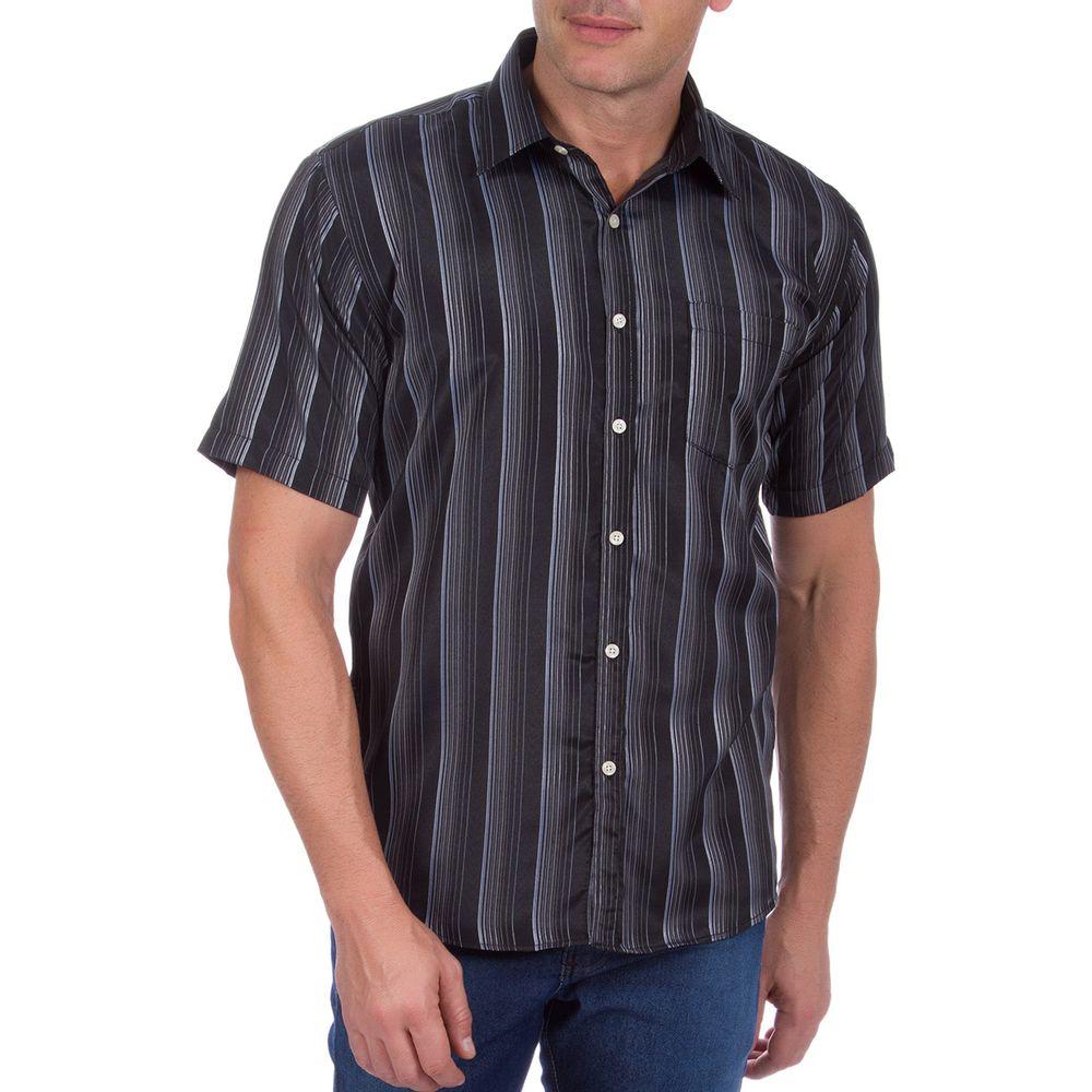 PRODUTO ADICIONADO A SACOLA. Camisa Social Masculina Preta Listrada 566602e23585a