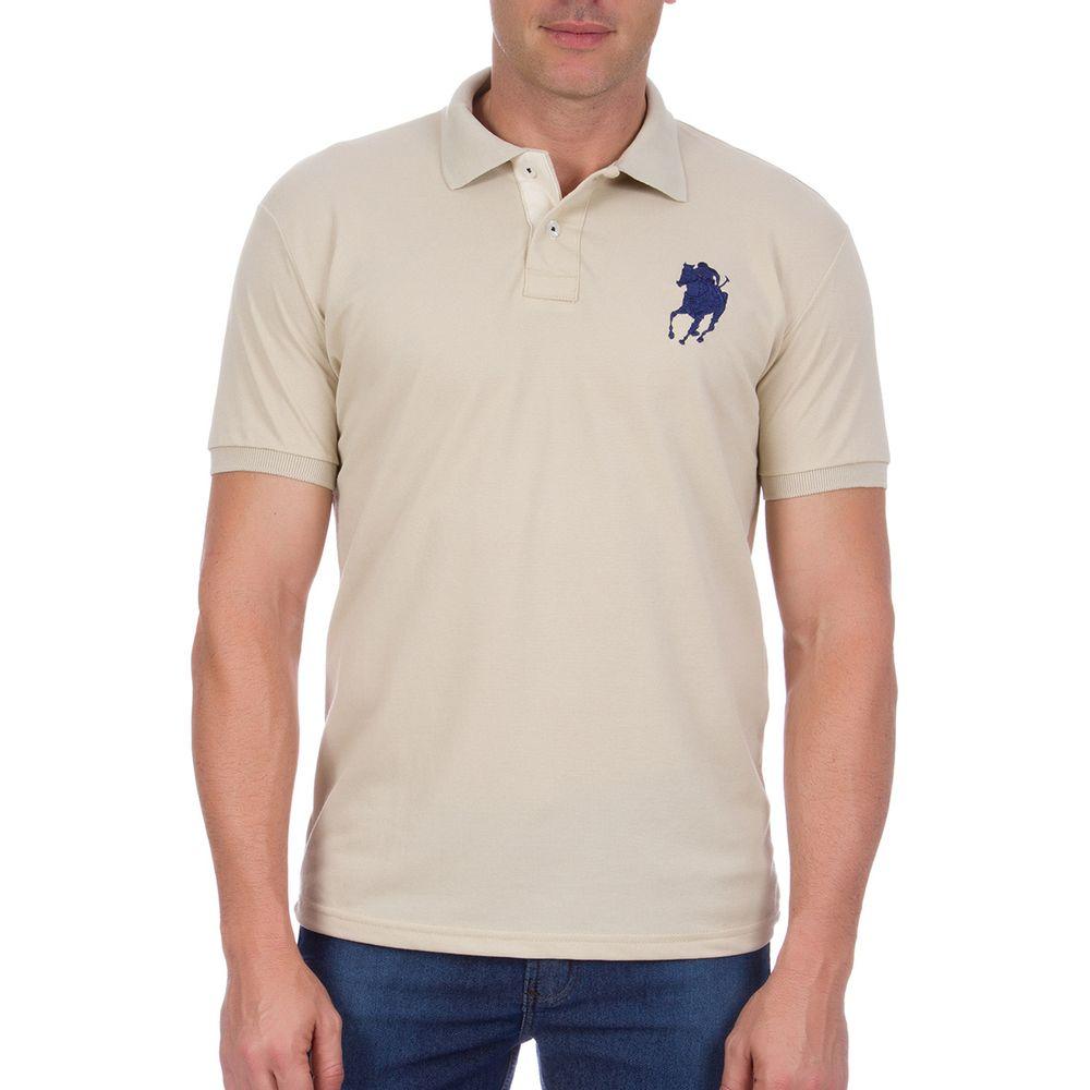 Camisa Polo Masculina com Bordado Bege Lisa - Camisaria Colombo 13322c6d758e5