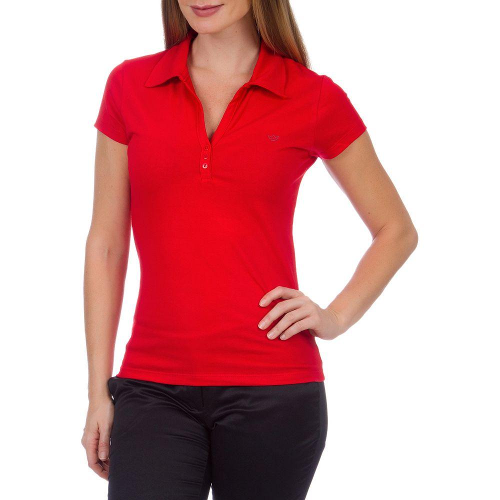 Camisa Polo Feminina Vermelha Lisa 97c78ce431bf1