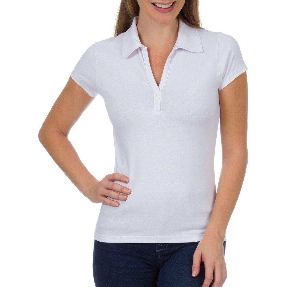 82bd54bb5b Camisa Polo Feminina Branca Lisa