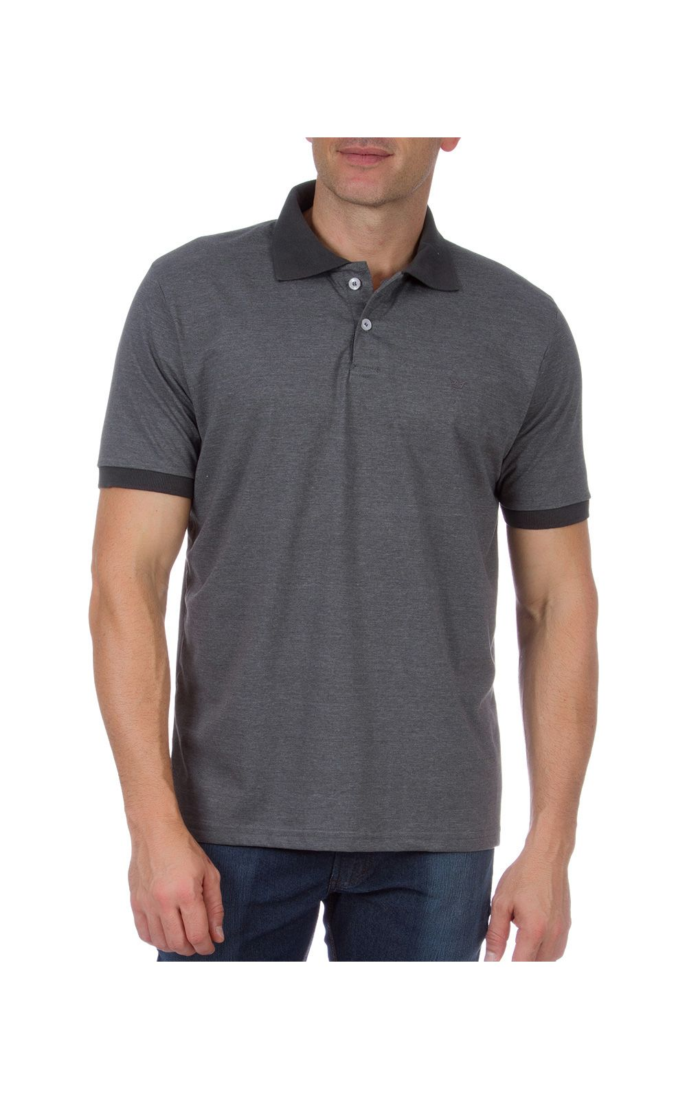 efc8e65e5a Camisa Polo Masculina Cinza Lisa