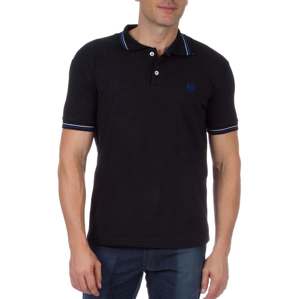 Camisa Polo Masculina Preta com Detalhe - Camisaria Colombo 93e78a93440df