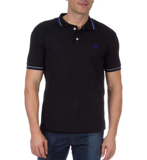 daf2d004dc407 Camisa Polo Masculina Preta Detalhada