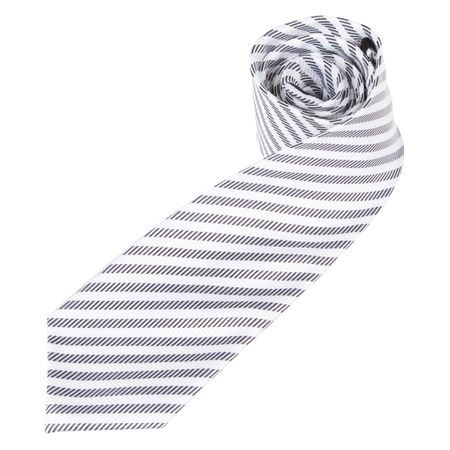Gravata Masculina Branca Listrada