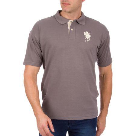 Camisa Polo Masculina Cinza Bordada