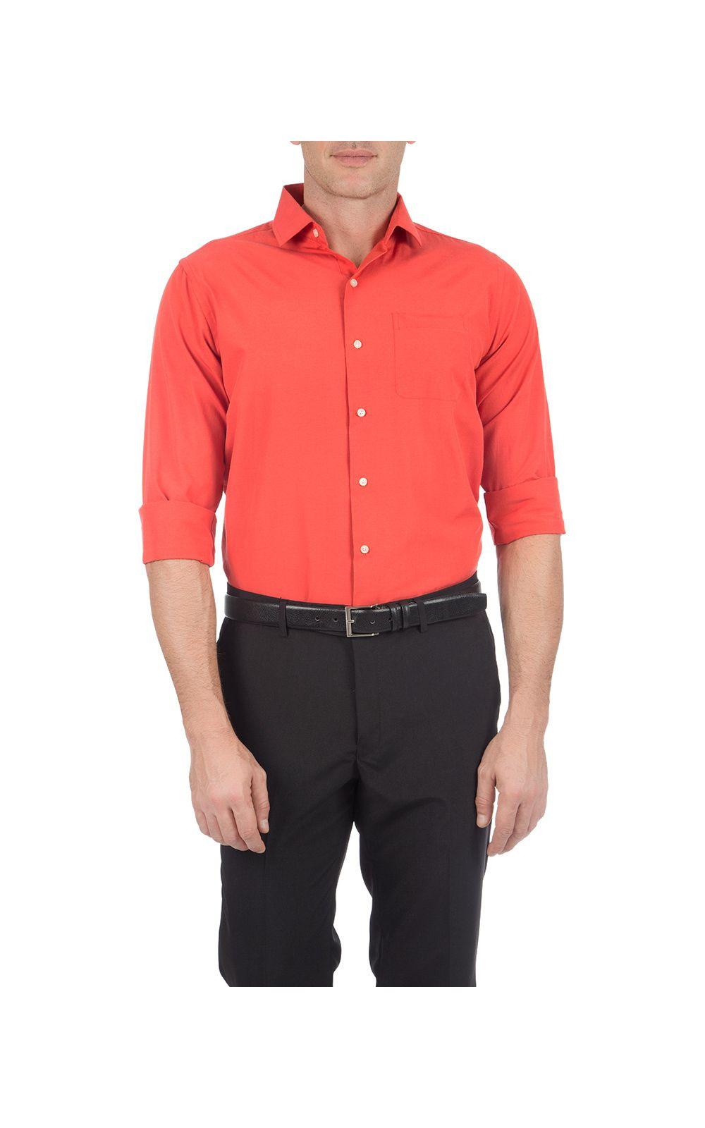 Foto 1 - Camisa Social Masculina Laranja Lisa