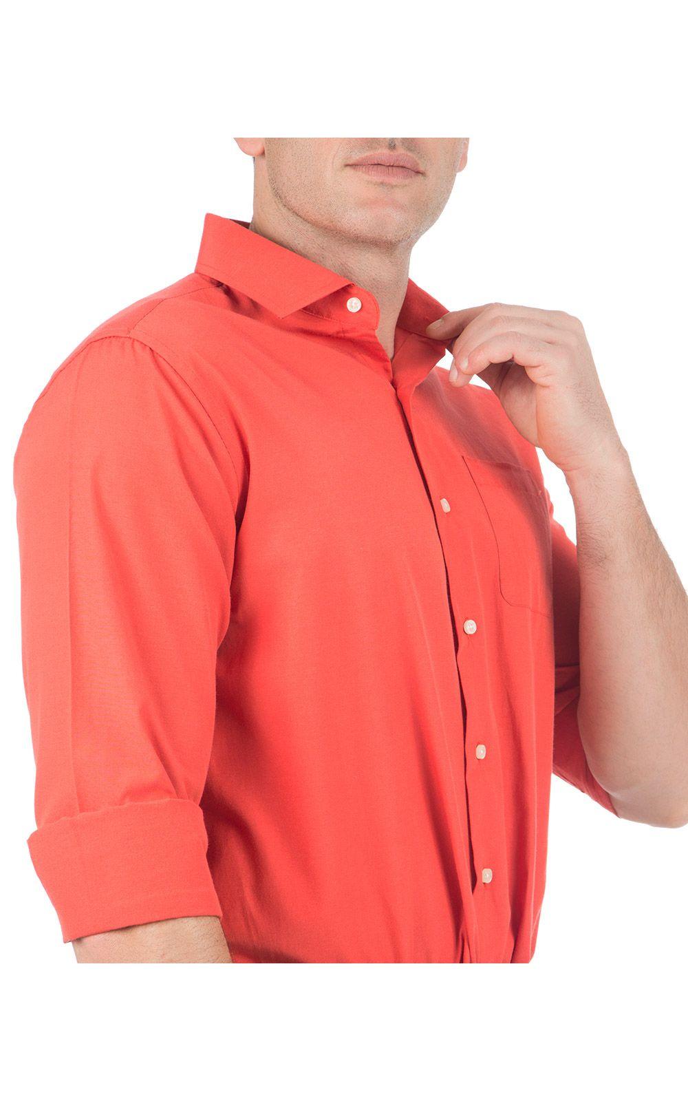 Foto 3 - Camisa Social Masculina Laranja Lisa