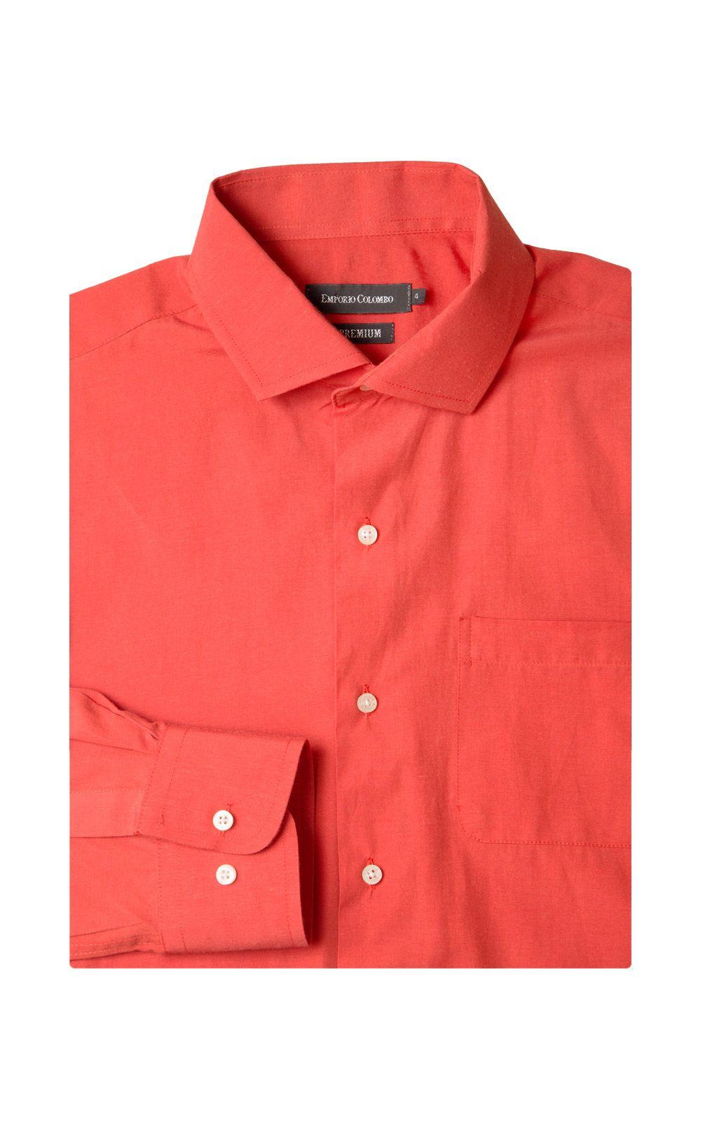 Foto 4 - Camisa Social Masculina Laranja Lisa