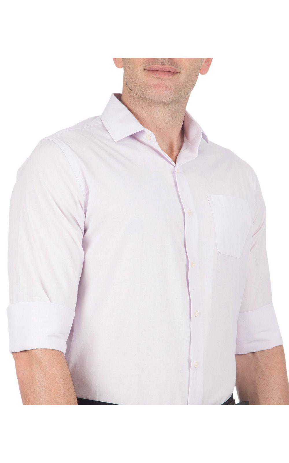 Foto 3 - Camisa Social Masculina Lilás Lisa