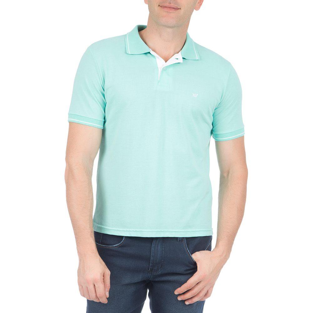 cabf2c6427 Camisa Polo Masculina com Detalhe Verde