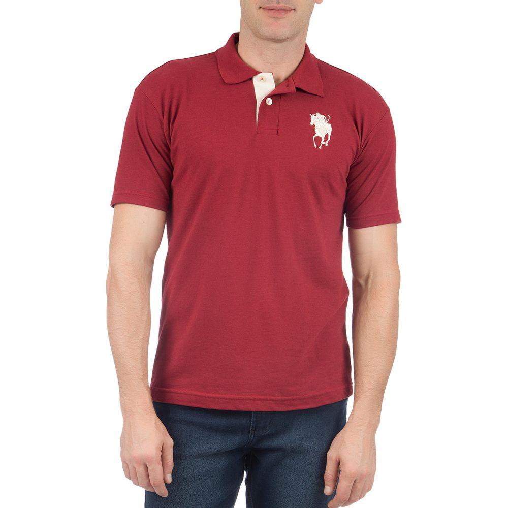 PRODUTO ADICIONADO A SACOLA. Camisa Polo Masculina com Bordado Vinho Lisa 41f1e51b66a4c
