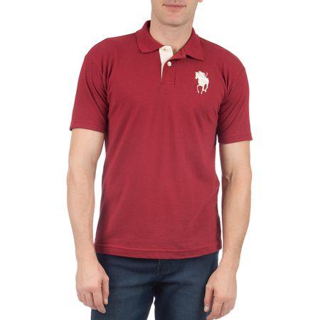Camisa Polo Masculina com Bordado Vinho Lisa