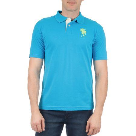 Camisa Polo Masculina Azul Lisa com Bordado