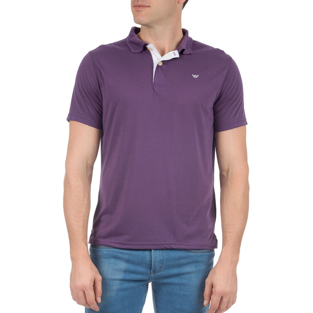Camisa Polo Masculina Roxa Lisa 846848dec55ab