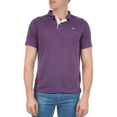 Camisa Polo Masculina Roxa Lisa com Detalhe