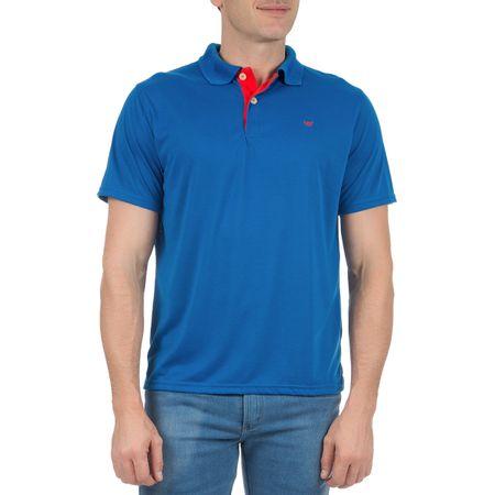 Camisa Polo Masculina Azul Lisa