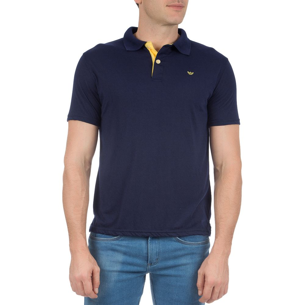 Camisa Polo Masculina Azul Lisa com Detalhe - Camisaria Colombo 417155e05b826