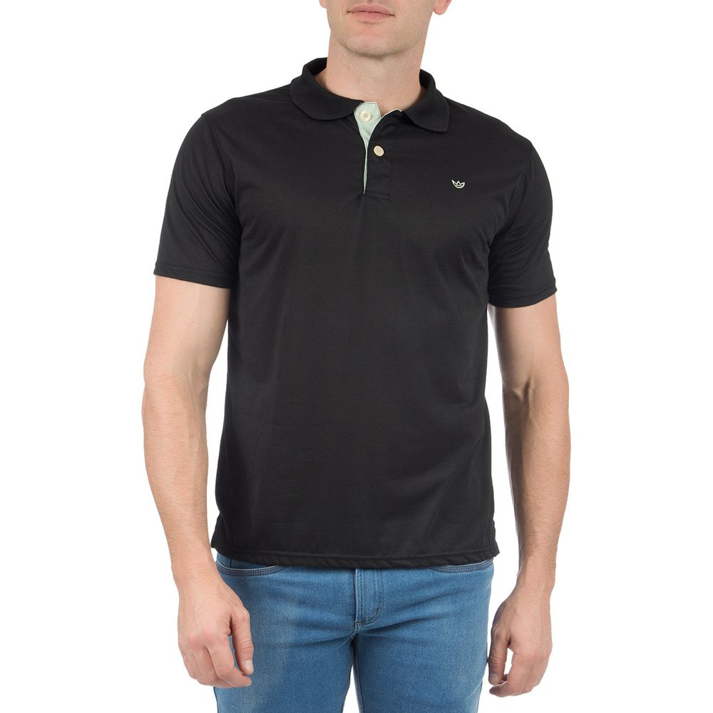 Camisa Polo Masculina Preta com Detalhe - Camisaria Colombo 005ad02a5769e