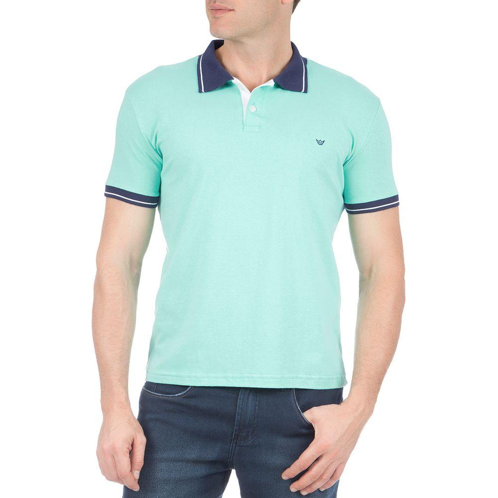 eb3167f37e Camisa Polo Masculina Verde Lisa com Detalhe - Camisaria Colombo