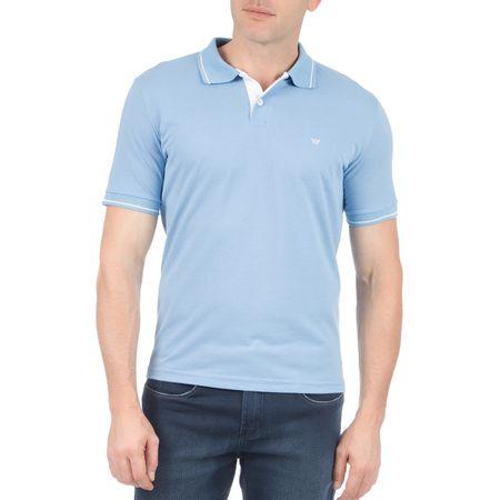 Camisa Polo Com Detalhe Masculina Azul