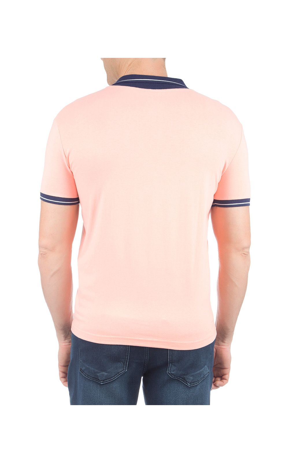 Foto 2 - Camisa Polo Masculina Laranja Detalhada