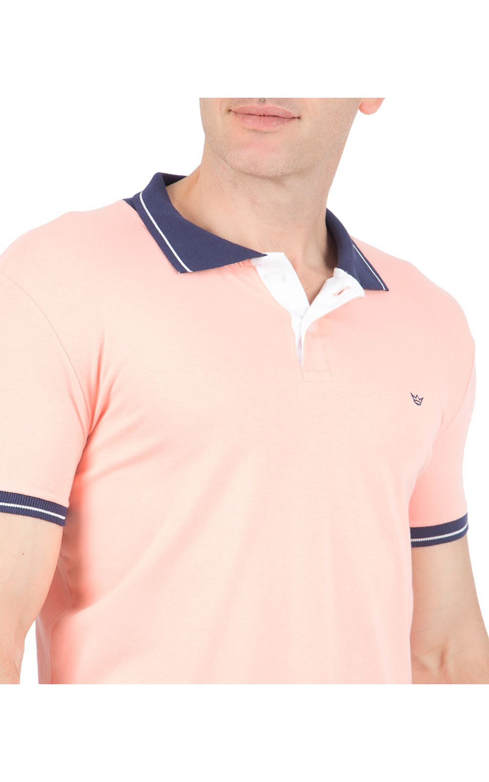 Foto 3 - Camisa Polo Masculina Laranja Detalhada