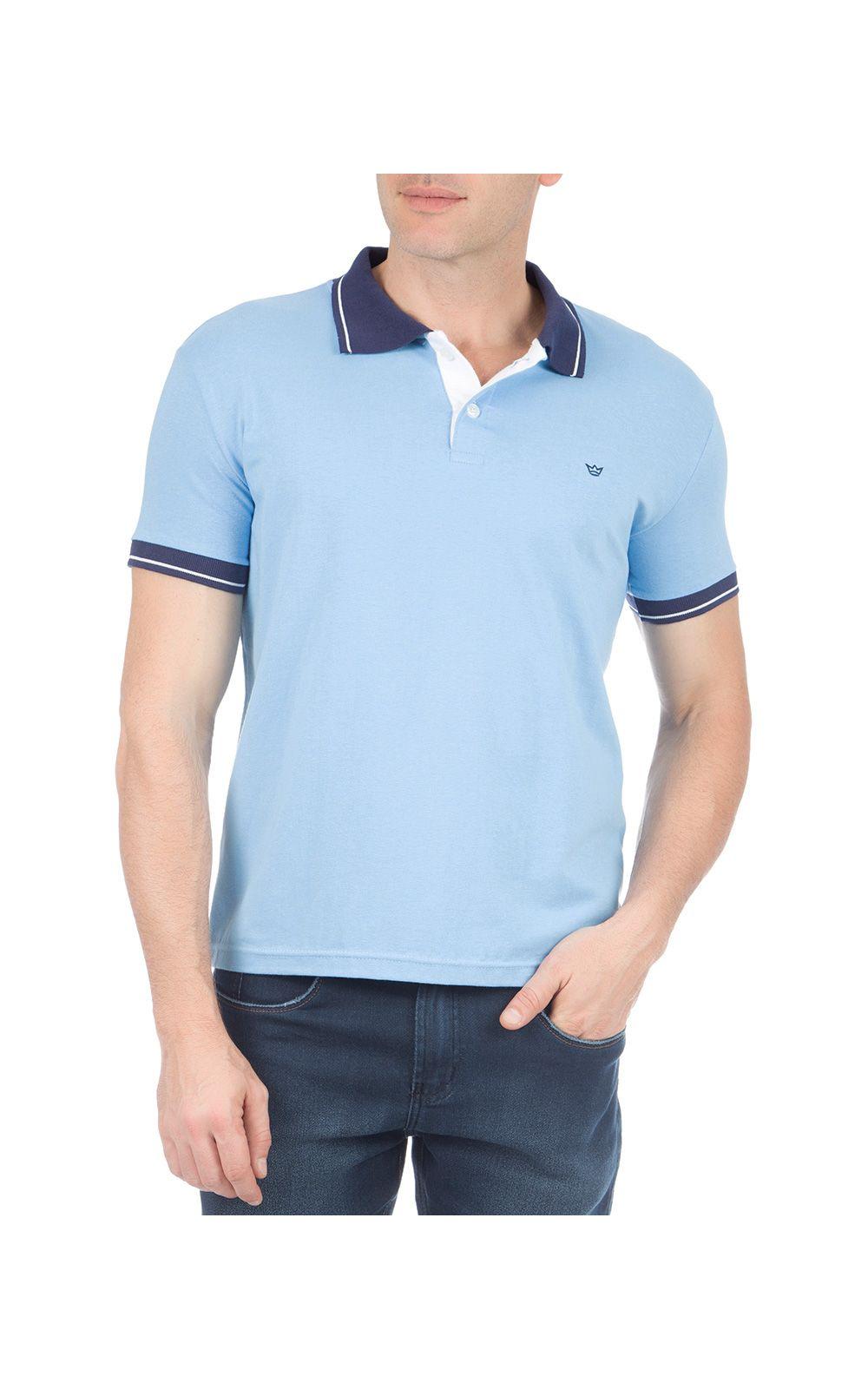 Foto 1 - Camisa Polo Masculina Azul Detalhada