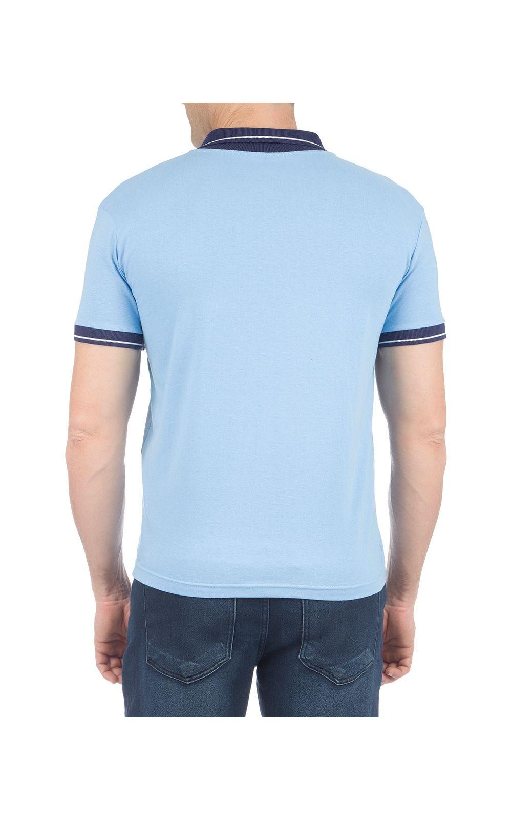 Foto 2 - Camisa Polo Masculina Azul Detalhada