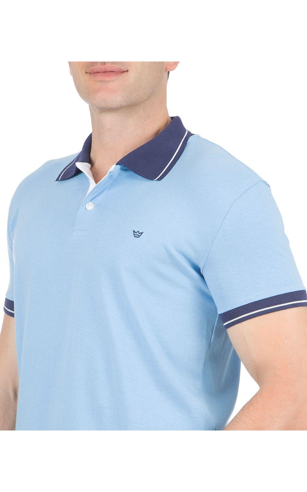 Foto 3 - Camisa Polo Masculina Azul Detalhada