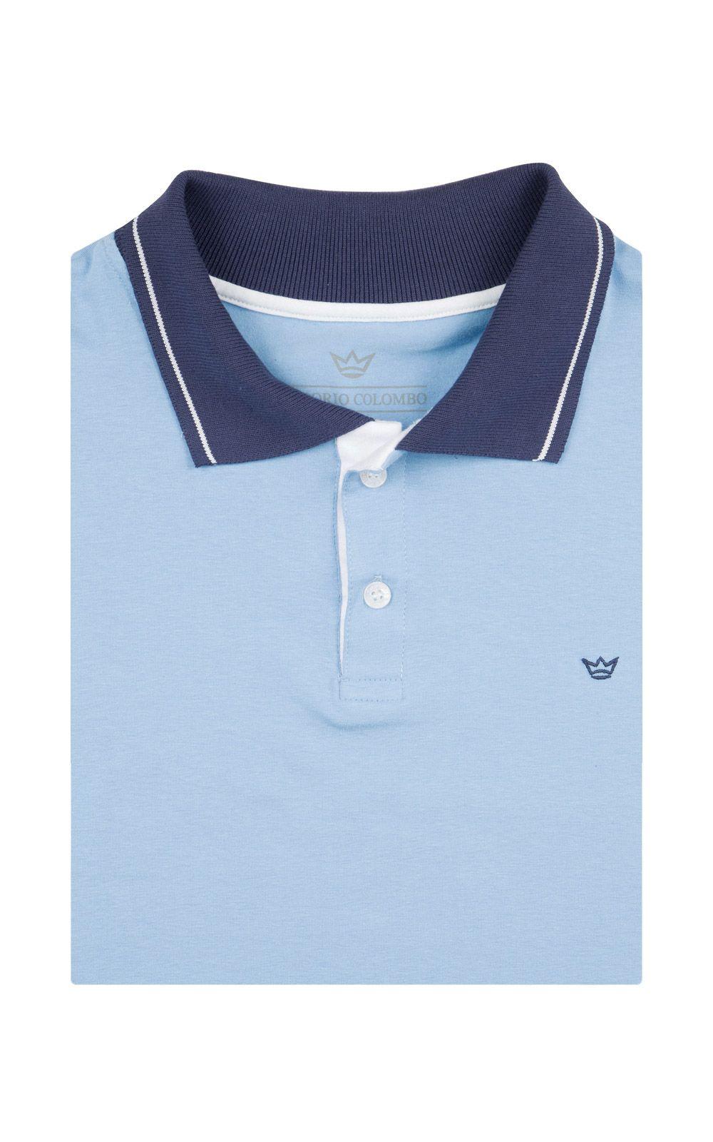 Foto 4 - Camisa Polo Masculina Azul Detalhada