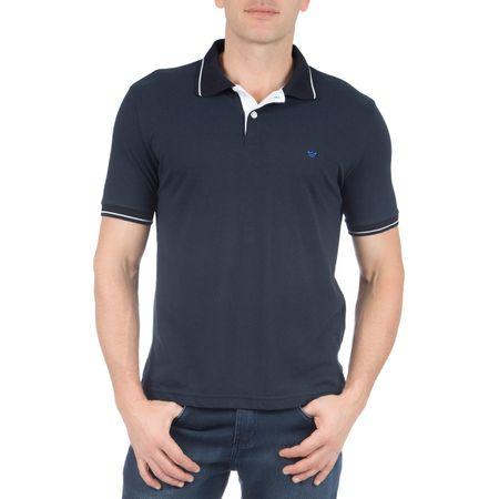 Camisa Polo Masculina Azul Marinho Lisa