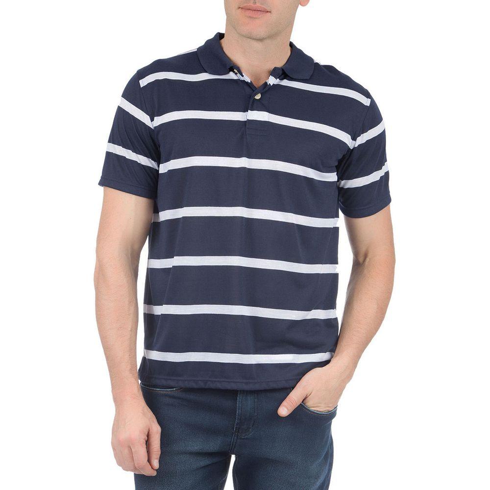 Camisa Polo Masculina Azul Listrada f3c71997570